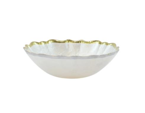 $23.00 Viva by Vietri Baroque Glass Small Bowl - White
