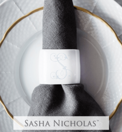 Sasha Nicholas  Custom Pieces Shoemaker Script Napkin Rings  $30.00