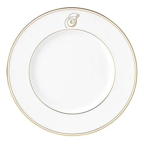 Lenox  Federal Gold Script Monogram  Accent Plate - S $35.00