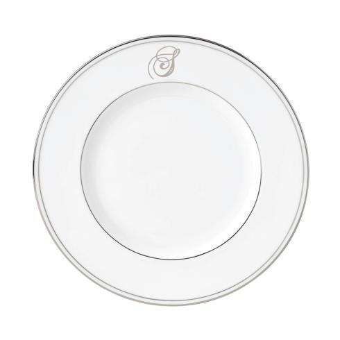 "$20.00 Federal Platinum Salad Plate With Script ""S"" Monogram"