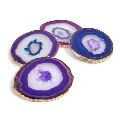 $175.00 Lumino Coasters Gold - Eggplant Set/4