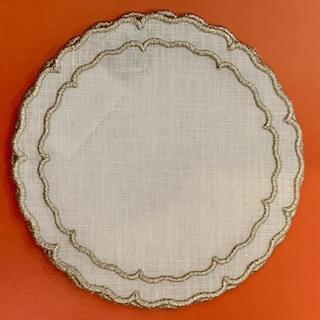 BC Clark Exclusives   Linho Round Coasters White/Platinum Set/4 $33.00