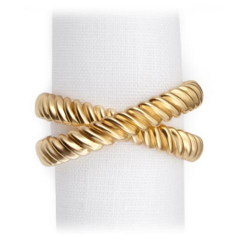 L'Objet  Napkin Rings Deco Twist Gold Napkin Rings S/4 $130.00