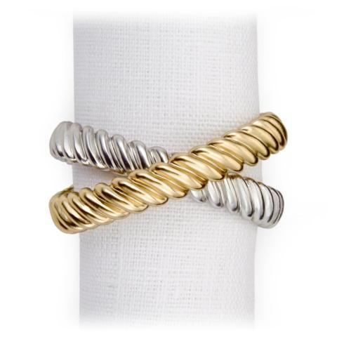 L'Objet  Napkin Rings Deco Twist Gold/Platinum Napkin Rings S/4 $130.00
