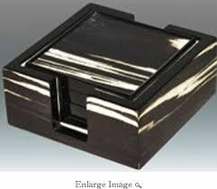 $119.00 Tizo Wood Coaster Set Black & White