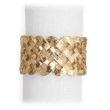 L'Objet  Napkin Rings Braid Gold Set/4 $150.00