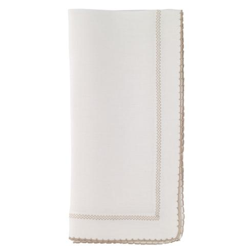 Bodrum   Picot White Beige Set of 6 Linen Napkins $156.00