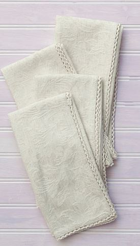 Breed & Co. Exclusives  Linens  LUX LINEN IVORY JACQ NAPKINS S/4 $49.00