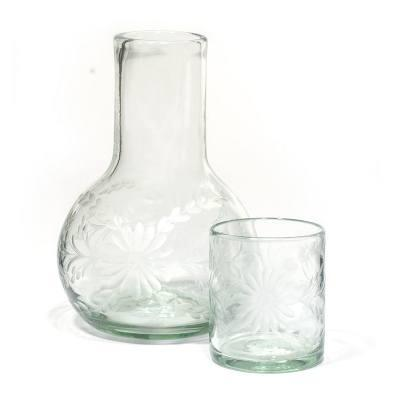 Rose Ann Hall Designs  Condessa Clear Clear Engraved Bedside Carafe $66.00
