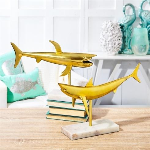 GOLD SHARK ON MARBLE BASE