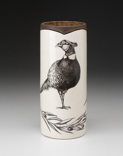 Laura Zindel Design   LARGE VASE PHEASANT $175.00