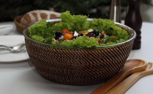Calaisio   Large Salad Bowl W/Woven Holder $92.00