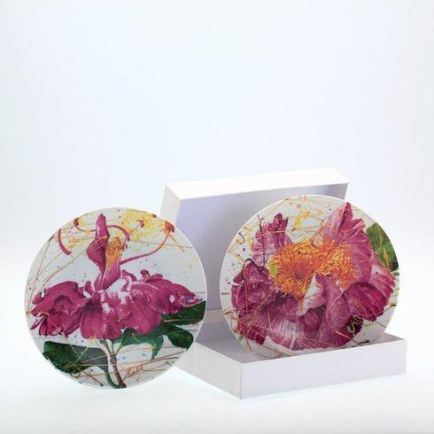 $195.00 Set of 2 dessert plates Burst & Dancing