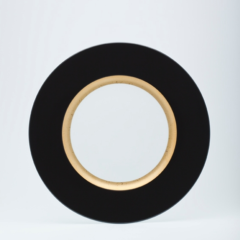 presentation plate (black rim & matte gold band)