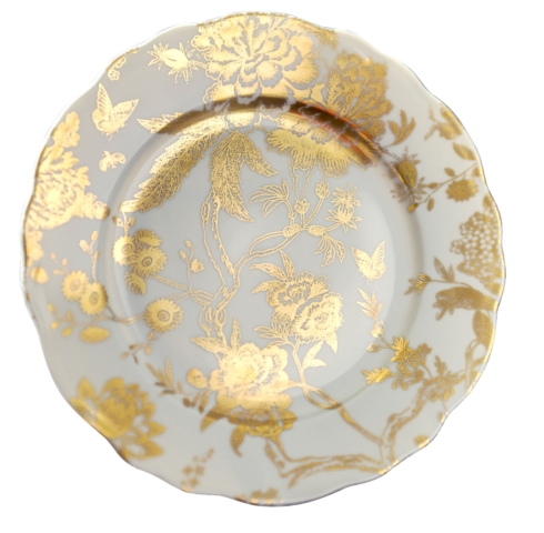 Deshoulieres  Jardin Secret White & Gold accent plate $145.00