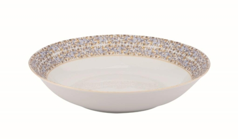 White deep round platter