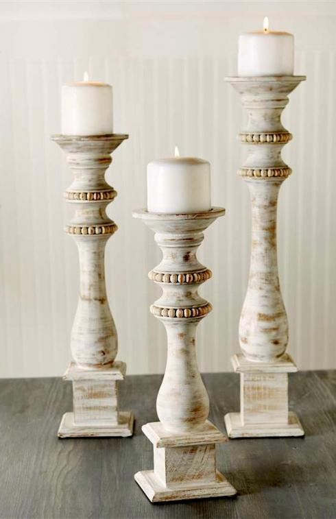 $108.00 White Washed Beaded Candlesticks
