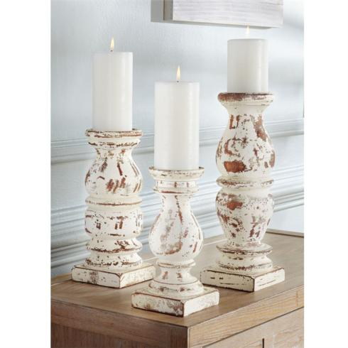 Distressed Cream Chunky Wood Candlesticks collection with 1 products