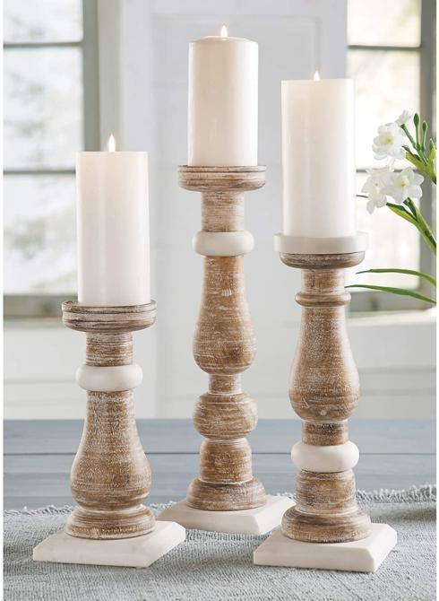$39.00 Large Wood Marble Candlestick