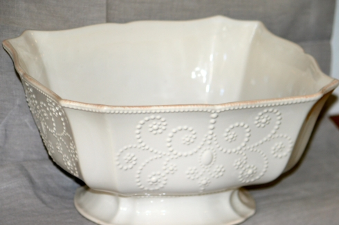 French Perle White Footed Centerpiece Bowl