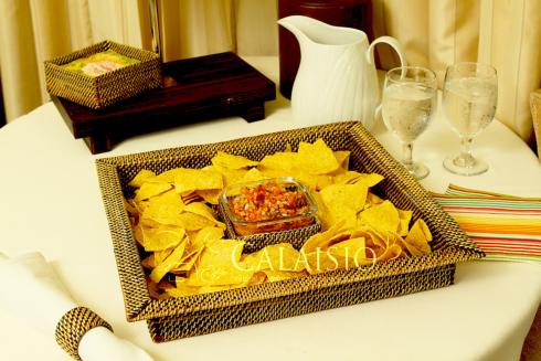 Calaisio square chip and dip tray w/ glass dish