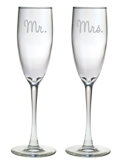 $25.00 Mr. & Mrs. Engraved Glass Champagne Flutes