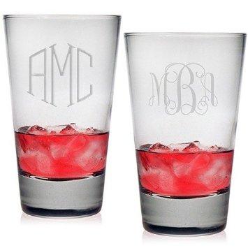 Set of 4 Highball Glasses with Monogram