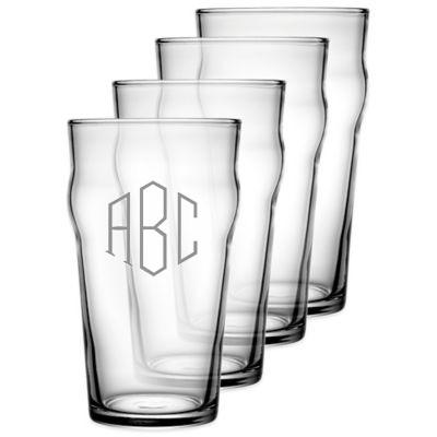 Set of 4 Classic Pub Glasses with Monogram, 20oz