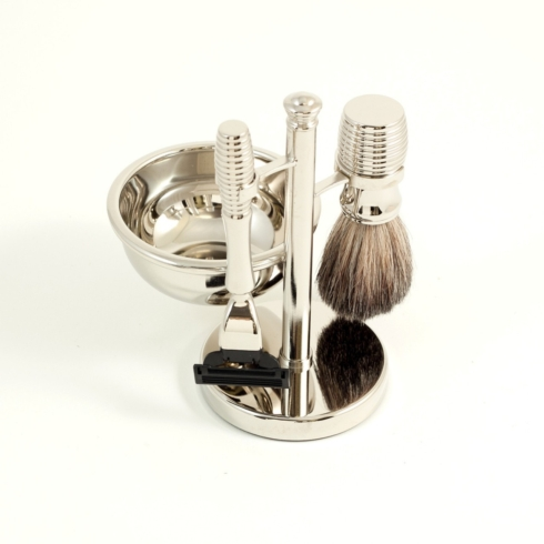 $70.00 Mach 3 Razor & Badger Brush with Soap Dish on Chrome Stand