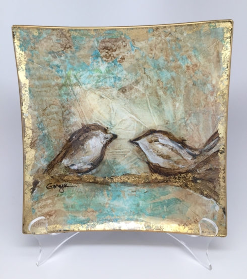$75.00 Birds on Branch Glass Tray