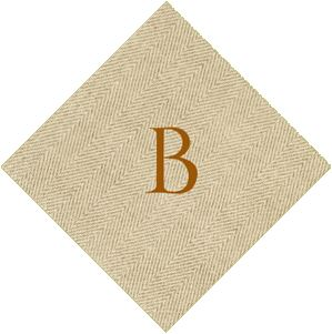 Caspari Jute Print Natural Cocktail Napkin Set of 20 with B Monogram collection with 1 products
