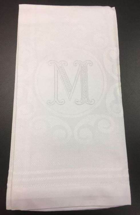 "$24.00 ""M"" White Vintage Hand Towel"