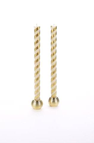 "$22.00 12"" IVORY/GOLD TAPERS"