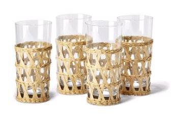 $55.00 Set of 4 HB Hand Woven Glasses