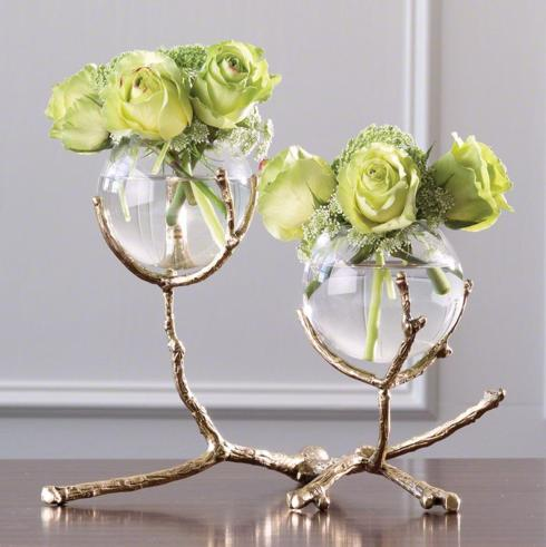 $285.00 2-VASE WITH GOLD TWIG HOLDER