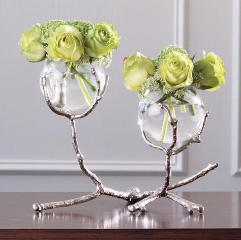 $285.00 2-VASE WITH SILVER TWIG HOLDER