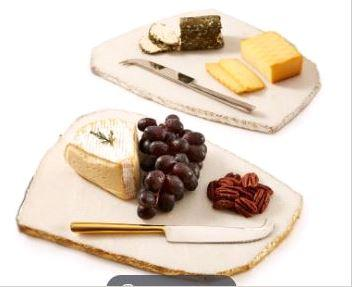 $95.00 Set of 2 Silver Marble Board Set