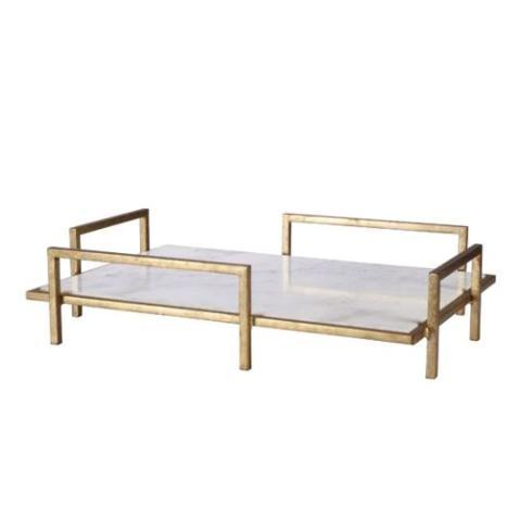 $195.00 OFFSET HANDLE TRAY GOLD/MARBLE