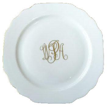 $67.00 Georgian White Gold Trim Dinner Plate with Monogram  sc 1 st  Bailey\u0027s Fine Jewelry - Bridge & Pickard Monogram ~ Georgian ~ Georgian White Gold Trim Dinner Plate ...