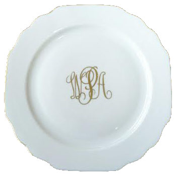 Pickard Monogram  Georgian Georgian White Gold Trim Dinner Plate with Monogram $67.00