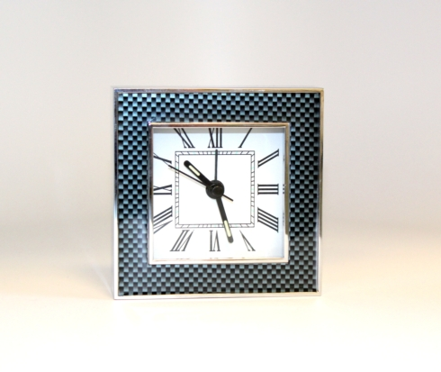 $32.00 Grey Enamel Carbon Fiber Clock