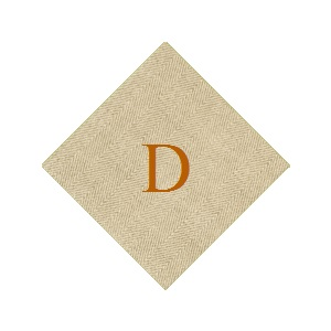Caspari Jute Print Natural Cocktail Napkin Set of 20 with D Monogram collection with 1 products