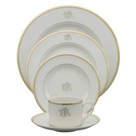 Pickard Monogram  Gold Ultra White Gold Rim Bread and Butter with Script Monogram $50.00