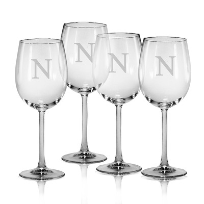 Set of 4 All Purpose Wine Glasses with Monogram