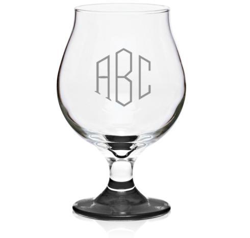 Set of 4 Belgian Beer Glasses with Monogram, 16oz