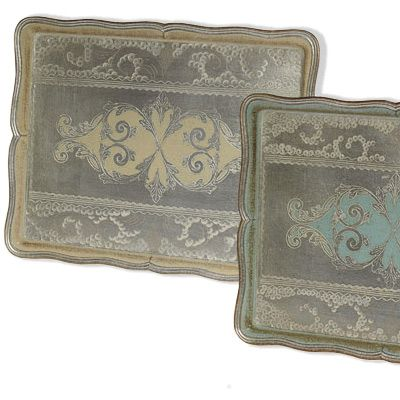 $140.00 Large Silver & Blue Hand-Painted Tray