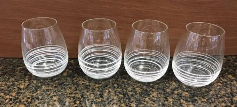 Bailey's Exclusives  Bailey's Fine Jewelry S/4 WHITE SWIRL STEMLESS WINES $64.00