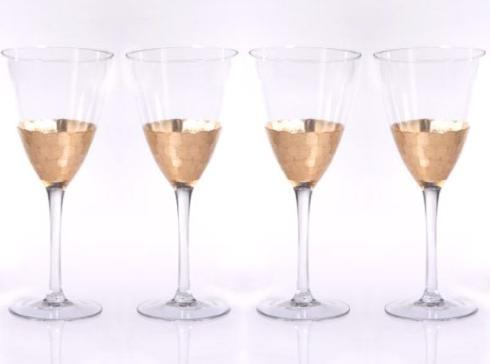 $80.00 Set of 4 Wines Fex Cut Gold