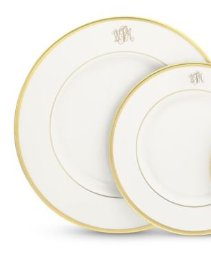 Pickard Monogram  Gold Pickard White Gold Rim Dinner Plate with Script Monogram $75.00