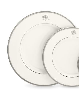 Pickard Monogram  Platinum Pickard White Platinum Rim Dinner Plate with Script Monogram $80.00
